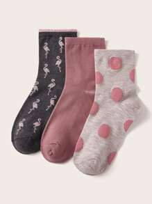 3pairs Polka Dot & Flamingos Pattern Socks