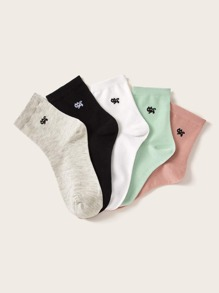 5pairs Cat Embroidery Socks