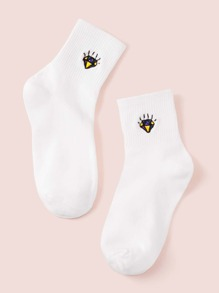 1pair Diamond Embroidery Socks