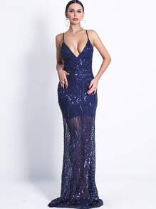 Missord Plunge Neck Backless Sequin Mesh Cami Prom Dress