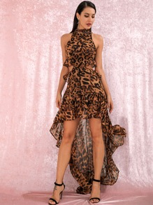 LOVE&LEMONADE Leopard High Low Ruffle Hem Backless Halter Dress