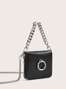 Ring Detail Flap Satchel Bag With Chain