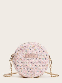Tweed Crossbody Round Bag