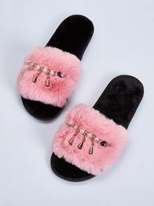 Open Toe Faux Pearl Fuzzy Slippers