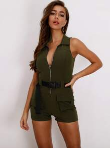 Joyfunear Zip Up Push Buckle Belt Utility Romper