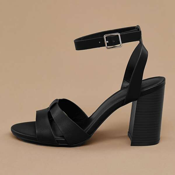 Buckled Ankle Open Toe Stacked Heel Sandals, Black