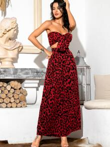 LOVE&LEMONADE Leopard Tie Front Bandeau & Wide Leg Pants Set