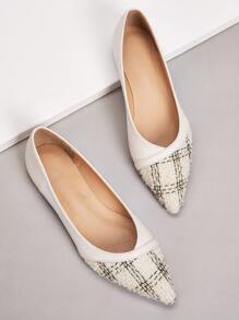 Tweed Panel Point Toe Flats