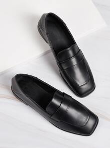 Solid Square Toe Loafers