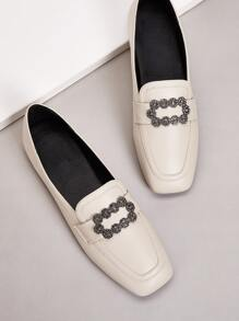 Rhinestone & Metal Front Loafers