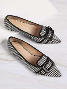 Houndstooth Buckle Front Flats