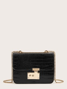 Croc Embossed Flap Chain Crossbody Bag