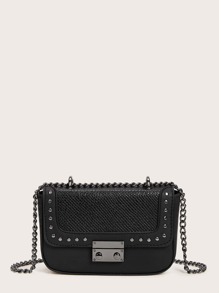 Snakeskin Embossed Studded Decor Chain Crossbody Bag
