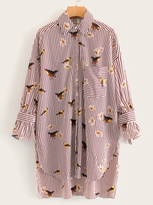 Vertical Stripe Bird Print Longline Blouse
