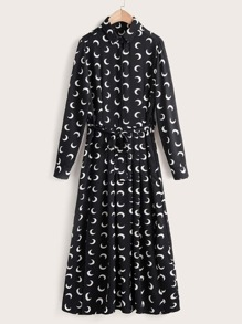 Moon Graphic Button Front Belted Shirt Dress