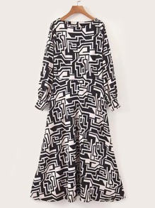 Geo Graphic Boat Neck Zip Back Dress
