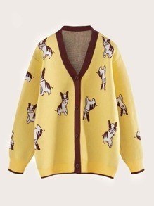 Dog Graphic Contrast Trim Cardigan