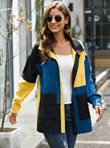 Corduroy Colorblock Pocket Front Coat