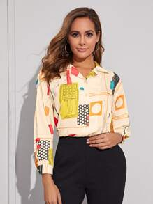 Polka Dot Graphic Curved Hem Blouse