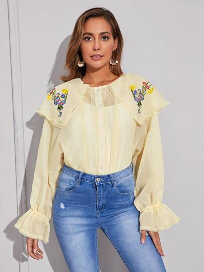 Floral Embroidery Sheer Babydoll Blouse