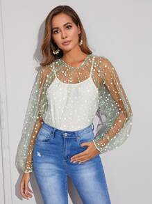 Polka Dot Sheer Mesh Blouse