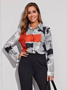 Contrast Panel Graphic Print Blouse