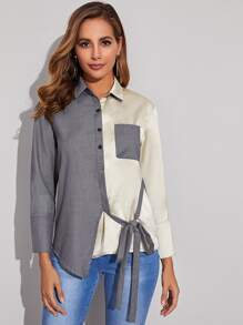 Two Tone Tie Side Blouse