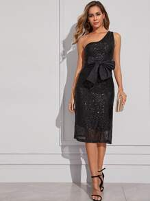 One Shoulder Big Bow Sequins Dress