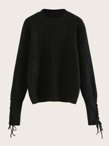 Lace-up Cuff Cable Knit Jumper
