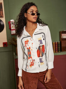 Poker Card Print Button Through Blouse