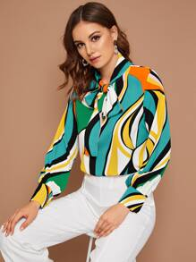 Colorful Geo Print Tie Neck Blouse
