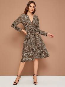 Leopard Print Surplice Front Belted Dress