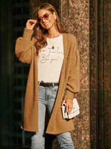 Fluffy Knit Bishop Sleeve Longline Cardigan Without Bag