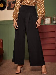 Solid Wide Leg Zip Fly Pants