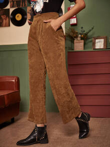 Solid Wide Leg Corduroy Pants