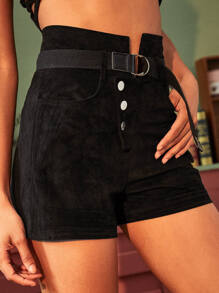 Button Fly Belted Suede Shorts