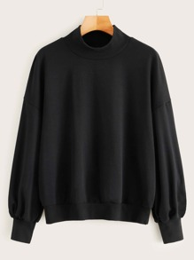 Solid Mock Neck Bishop Sleeve Sweatshirt