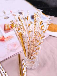 25pcs Holiday Decorative Disposable Paper Straw