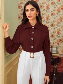 Button Through Long Sleeve Blouse