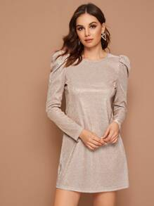 Sparkly Glitter Puff Sleeve Tunic Dress