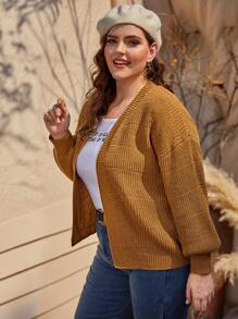Plus Ribbed Knit Bishop Sleeve Cardigan