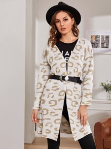 Allover Graphic Drop Shoulder Cardigan Without Belted