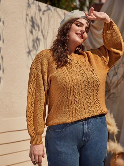 Plus Cable Knit Drop Shoulder Sweater