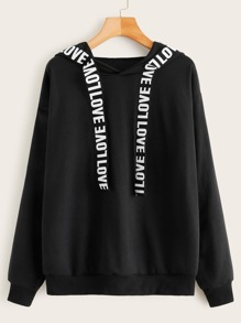 Letter Tape Drop Shoulder Hoodie