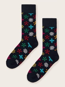 1pair Snowflake Pattern Socks