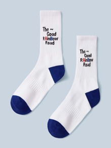 1pair Slogan Embroidery Socks