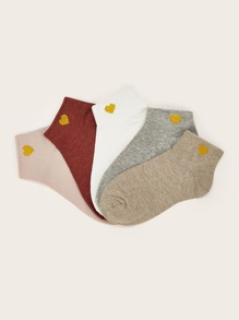 5pairs Heart Pattern Ankle Socks
