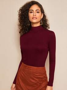 Mock Neck Long Sleeve Fitted Tee