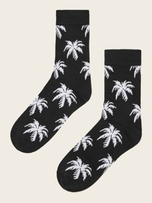1pair Coconut Tree Pattern Socks