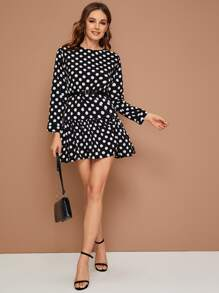 Polka Dot Ruffle Hem Belted Smock Dress